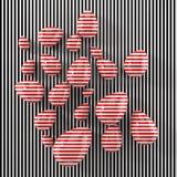 Modern konstbegrepp med röda målade ägg illustration 3d stock illustrationer