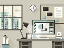 Modern kontorsinre i plan design vektor illustrationer