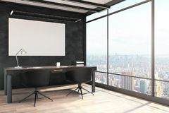 Modern kontorsinre med affischtavlan stock illustrationer