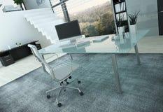 Modern kontorsinre med skrivbordet Royaltyfria Foton