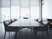 Modern kontorsmötesrum med den bruna tabellen framförande 3d Arkivbild
