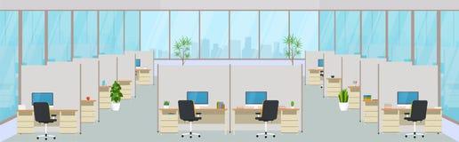 Modern kontorsmitt med arbetsplatser Tom workspace för Co-arbete, designaffärsrum med stora fönster stock illustrationer