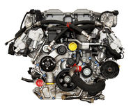 Modern kraftig bilmotor Royaltyfri Foto