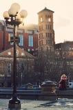 Modern kramar en flicka i Washington Square Park Arkivbild