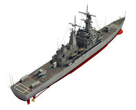 Modern krigsskepp över vit bakgrund Arkivbilder