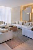 Modern lägenhet med bekväm artistisk inredning fotografering för bildbyråer