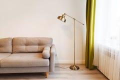 Modern lägenhet med soffan och en lampa royaltyfri foto