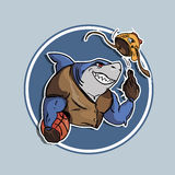 Modern label with shark with basketball ball and fish mask. Vector illustration Royalty Free Stock Photo