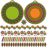 Modern labels or tags and trims. Orange, green and purple tags or labels and trims with flowers Vector Illustration