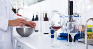 Modern laboratorium van wijnmakerij Het controleren van zuurheid van wijn en organo royalty-vrije stock afbeeldingen