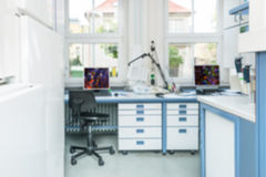 Modern laboratory interior out of focus Stock Images