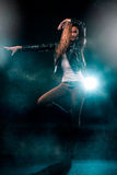 Modern Lady Performing Dance On The Stage In Spotlight Royalty Free Stock Photos