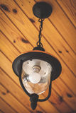 Modern lamp on wooden ceiling Royalty Free Stock Photos