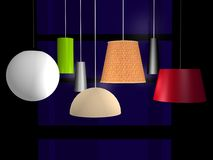 Modern lamps. Seven different modern lamps created in 3d Stock Photography