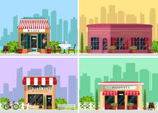 Modern landscape set with cafe, restaurant, pizzeria, coffee house building, trees, bushes, flowers, benches, restaurant tables. Royalty Free Stock Photo