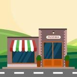 Modern landskapuppsättning med kafét, restaurangbyggnad Plan stilvektorillustration pizzerian blockerar infographic Royaltyfri Fotografi