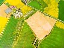 Modern lantgård med organisk jordbruksprodukter arkivfoto