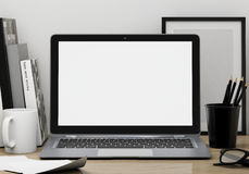 Modern lap top template mock up background Stock Photos