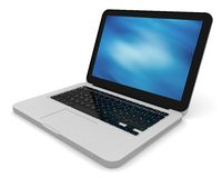 Modern laptop with abstract background. 3D render of a silver unibody laptop with abstract blue screen Royalty Free Stock Photo