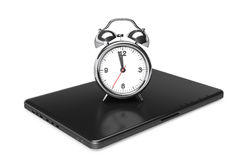 Modern Laptop with Alarm Clock Royalty Free Stock Photography
