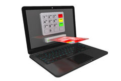Modern Laptop with ATM and Credit Card Stock Photo