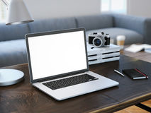 Modern laptop with blank screen. 3d rendering stock image