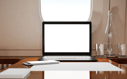 Modern Laptop Blank Screen Inside Interior Wood Table Luxury Private Airplane Jet.Empty Cabin Window Generic Design Stock Images