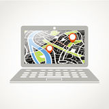 Modern laptop with city map Royalty Free Stock Images