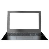 Modern laptop closeup on white background. Royalty Free Stock Photography