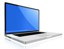 Modern laptop computer. High quality render of gray high-end laptop computer with white screen stock illustration
