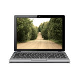 Modern laptop with country road on screen Stock Photo