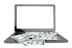 Modern Laptop with Dollar Banknotes Stock Photos