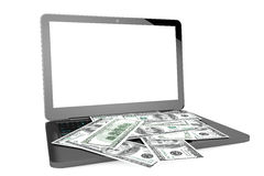 Modern Laptop with Dollar Banknotes Royalty Free Stock Photography