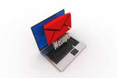 Modern Laptop and envelope Royalty Free Stock Image