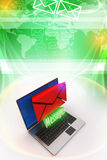 Modern Laptop and envelope Stock Images
