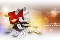 Modern Laptop and envelope Stock Photo