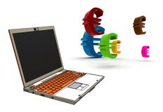 Modern laptop with euro symbols Royalty Free Stock Photos