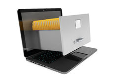 Modern laptop with file cabinet Stock Photos