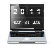 Modern Laptop with flip clock screensaver royalty free stock photo