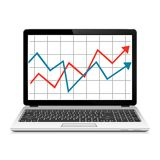 Modern laptop with graph on screen. Finance statistics report, statistic analysis. Vector EPS10 Royalty Free Stock Photography