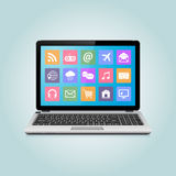Modern laptop with icons. On screen. Vector illustration Stock Photo