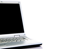 Modern laptop isolated on white. With reflections on glass table stock photos