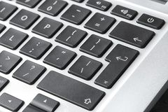 Modern laptop keyboard with black buttons. Closeup view royalty free stock images