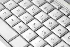 Modern laptop keyboard, closeup Stock Photo
