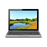 Modern laptop with landscape wallpaper Royalty Free Stock Photos