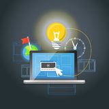 Modern laptop with light bulb Royalty Free Stock Photos