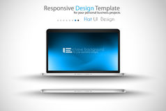 Modern laptop - open and close version with background. Royalty Free Stock Photography