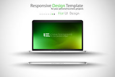 Modern laptop - open and close version with background. Stock Photos
