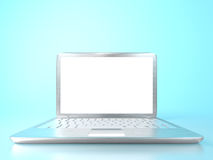 Modern laptop PC on glass table. And blue background Stock Photography