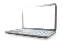 Modern laptop PC isolated. Modern laptop PC on glass table isolated on white background Stock Image